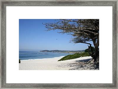White Beach At Carmel Framed Print