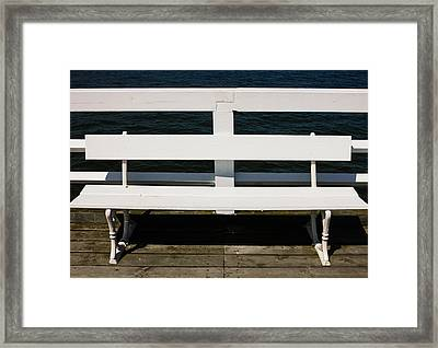 White Bench Framed Print by Pati Photography