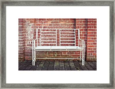 White Bench Framed Print