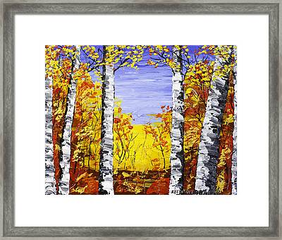White Birch Tree Abstract Painting In Fall Framed Print by Keith Webber Jr