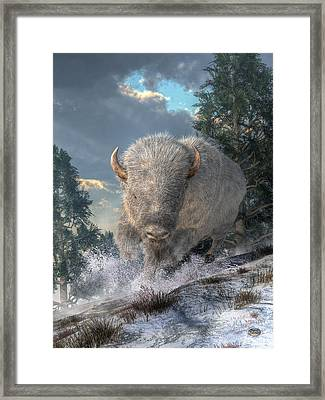 White Bison Framed Print by Daniel Eskridge
