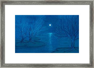 White Blue And Blue Framed Print