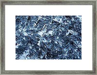 Falling Into White Blue Black Oil Painting -sold-original Framed Print by Renee Anderson