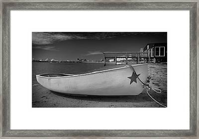 White Boat Framed Print by Dapixara Art