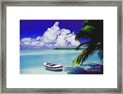 White Boat On A Tropical Island Framed Print by David  Van Hulst