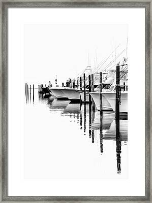 White Boats II - Outer Banks Bw Framed Print by Dan Carmichael