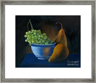White Bowl With Grapes Framed Print by Stephanie Allison