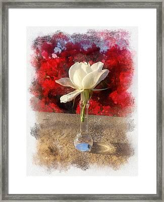 White Bud And Vase Framed Print by Rick Lloyd