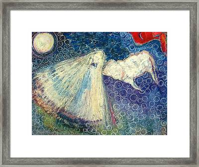 White Buffalo Calf Woman Framed Print by Tolere