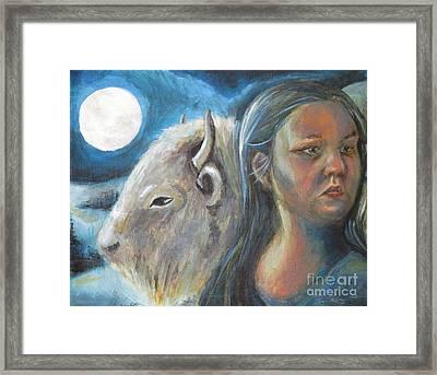 White Buffalo Portrait Framed Print