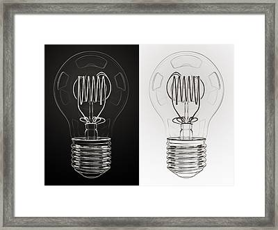 White Bulb Black Bulb Framed Print by Scott Norris