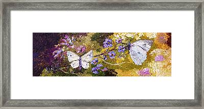 White Butterflies Impressionist Oil Painting Framed Print