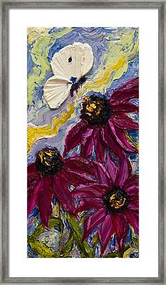 White Butterfly And Purple Flowers Framed Print by Paris Wyatt Llanso