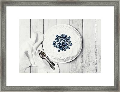 White Cake With Blueberries Framed Print by Claudia Totir