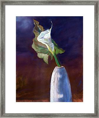 Framed Print featuring the pastel White Calle Lily by Julie Maas