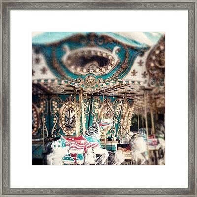 White Carousel Horse On Teal Merry Go Round Framed Print by Lisa Russo