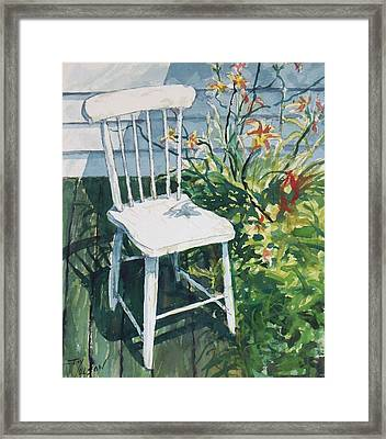 White Chair And Day Lilies Framed Print by Joy Nichols