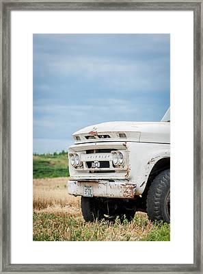 White Chevy Truch Framed Print