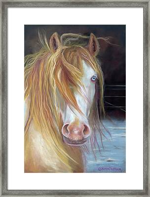 Framed Print featuring the painting White Chocolate Stallion by Karen Kennedy Chatham