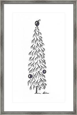 White Christmas Tree Framed Print