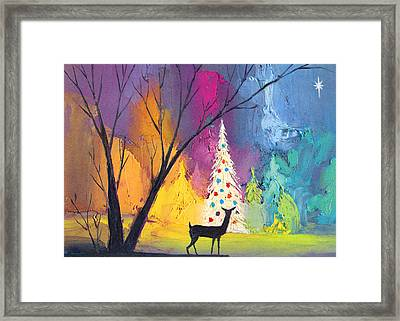 White Christmas Tree Framed Print by Munir Alawi
