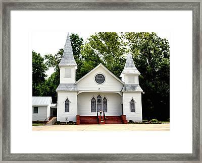 White Church Building Framed Print by Carolyn Ricks