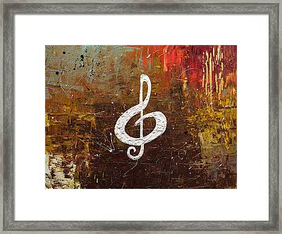 White Clef Framed Print by Carmen Guedez