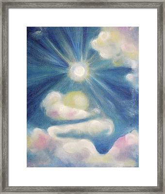 White Clouds And Sun Framed Print