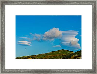 White Clouds Form Tornado Framed Print
