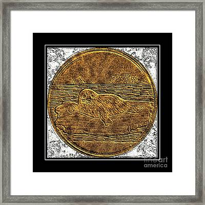 White Coat Seal - Brass Etching Framed Print by Barbara Griffin