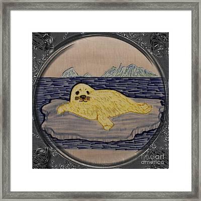 White Coat Seal Pup On Ice Flow - Porthole Vignette Framed Print