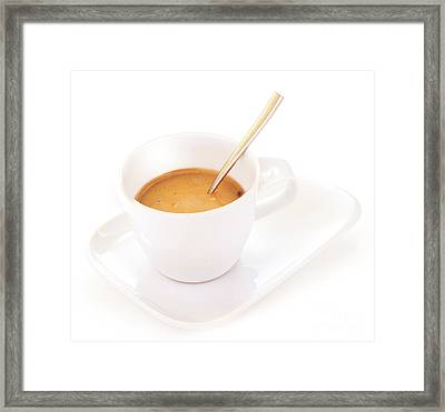 White Coffee Cup Framed Print by Anna Om