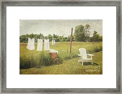 White Cotton Clothes Drying On A Wash Line  Framed Print by Sandra Cunningham