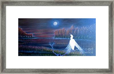 White Crane Dancing In The Light Of The Moon Framed Print by Kimberlee Baxter
