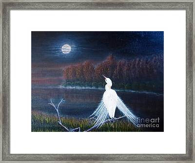 White Crane Dancing Under The Moonlight Cropped Framed Print by Kimberlee Baxter