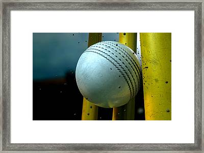 White Cricket Ball And Wickets Framed Print by Allan Swart
