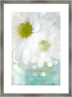 Dreamy White Daisies Floral Art - Ethereal Dreamy Shabby Chic White Daisies - Just Breathe Framed Print by Kathy Fornal