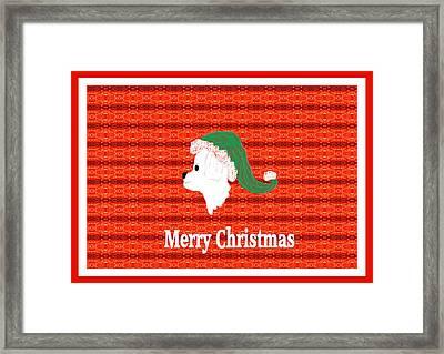 White Dog Christmas Card Framed Print