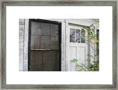 White Door Black Window Screen Framed Print by Paulette Maffucci