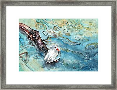 White Duck On The Constance Lake In Winter Framed Print by Miki De Goodaboom
