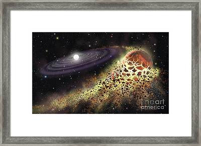 White Dwarf Shredding A Planet Framed Print by Lynette Cook