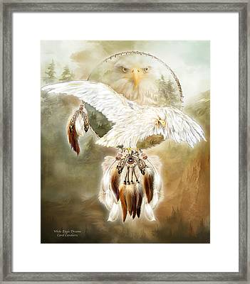 Framed Print featuring the mixed media White Eagle Dreams by Carol Cavalaris