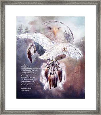 White Eagle Dreams W/prose Framed Print by Carol Cavalaris