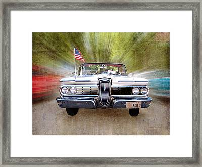 White Edsel At Cruise Night Framed Print by Thomas Woolworth