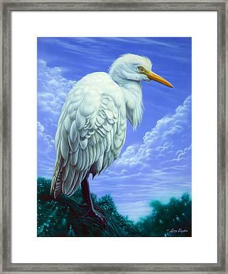 White Egret Framed Print by Larry Taugher