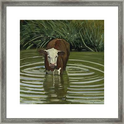 Framed Print featuring the painting White Face Herford In The Pond by John Reynolds