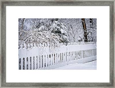 White Fence With Winter Trees Framed Print by Elena Elisseeva