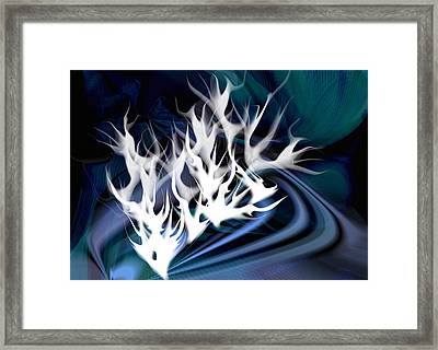 White Fire Abstract Framed Print