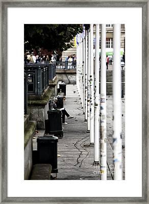 White Flagpoles Framed Print