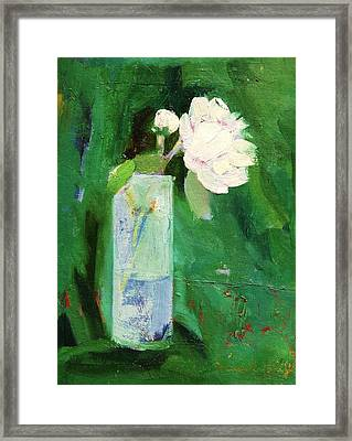 White Flower Framed Print by Misuk Jenkins